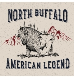 Vintage label with buffalo vector
