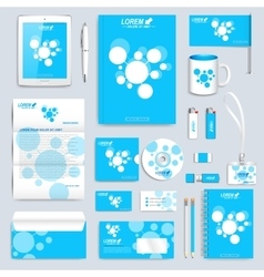 Blue set of corporate identity template vector