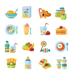 Infant baby food flat icons set vector