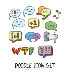 Set of universal doodle icons bright colors and vector