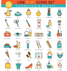 Beauty and cosmetics flat line icon set vector