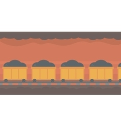 Background of underground tunnel with mining cart vector