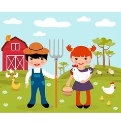 Farmers at farm vector