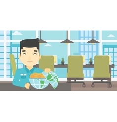 Businessman with earth globe full of money vector