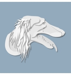 Side portrait of saluki dog in paper cut style vector