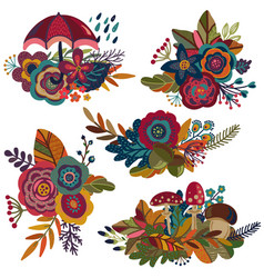 Autumn bouquets fall compositions vector