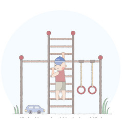 boy playing in the playground on the stairs vector image vector image