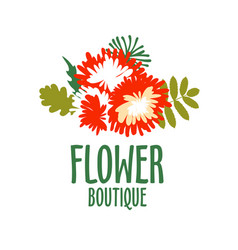 bright logo for a flower shop bouquet wedding vector image vector image
