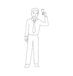 Businessman raising champagne glass vector image vector image