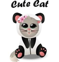 Cat in panda costum vector