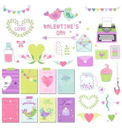 Cute Valentines Day and Love Set vector image vector image
