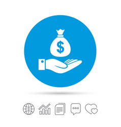 Dollar and hand sign palm holds money bag vector
