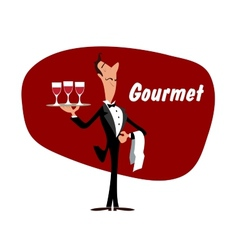 Elegant waiter with wineglasses vector image