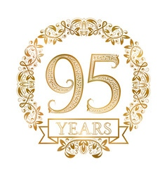 Golden emblem of ninety fifth years anniversary in vector image vector image