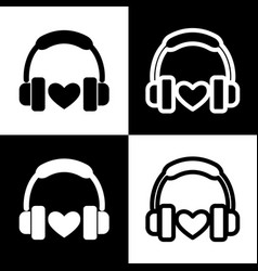 headphones with heart black and white vector image vector image