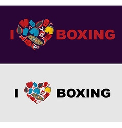 I love boxing symbol of the heart of boxing gear vector