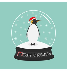 King penguin emperor in red santa hat cute cartoon vector