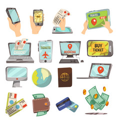 online booking service icons set vector image vector image