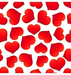 Red hearts pattern on white background vector image vector image