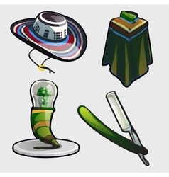 Sambrero ponchos and other symbols of mexico vector