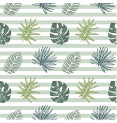 Seamless pattern with hand drawn tropical leaves vector