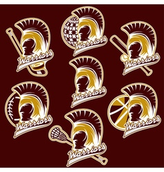 spartan warrior as emblem of sports teams vector image vector image