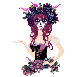 Sugar skull girl in flower crown13 vector