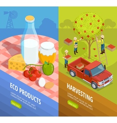 Vertical isometric farm banner set vector