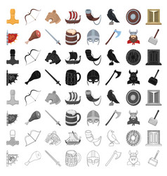 Vikings set icons in cartoon style big collection vector