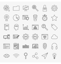 Web development line icons set vector