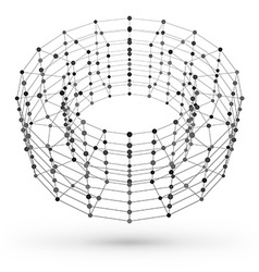 Wireframe polygonal geometric element torus with vector
