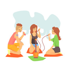 Young cool hipsters smoking hookah and vaporizer vector