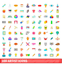 100 artist icons set cartoon style vector