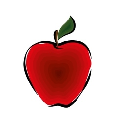 Whole apple with leaf vector