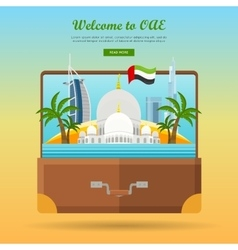 United arab emirates travelling banner suitcase vector