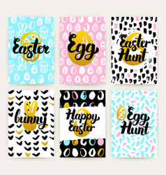 Happy easter trendy posters vector
