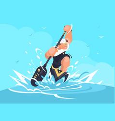 Strong man in canoe vector