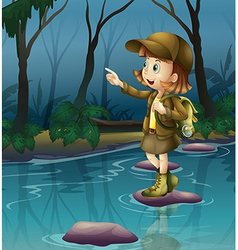 A girl above a rock in the river vector