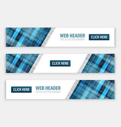 Abstract banners for web header with button vector
