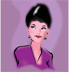 Retro elegant woman portrait in pop art style vector image