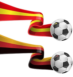 Spain and germany flag with soccer ball vector