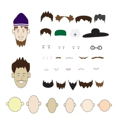 A set of parts of the human face and hats on an vector image