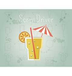 Screw driver cocktail banner and poster template vector