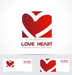 Love heart logo red vector