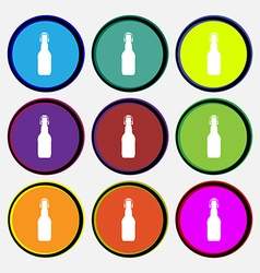 Bottle icon sign nine multi colored round buttons vector