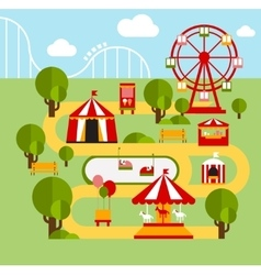 Amusement park infographic elements vector