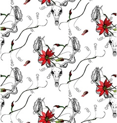 Deer skull and passion flower pattern vector