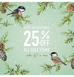Christmas Sale Poster or Banner - with Winter Bird vector image