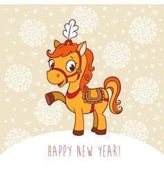 Horse Christmas card design vector image