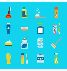 Hygiene and cleaning products flat icons cleaner vector